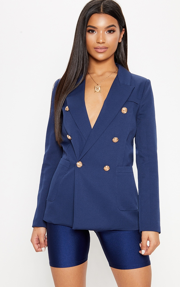 Navy Double Breasted Military Blazer 1