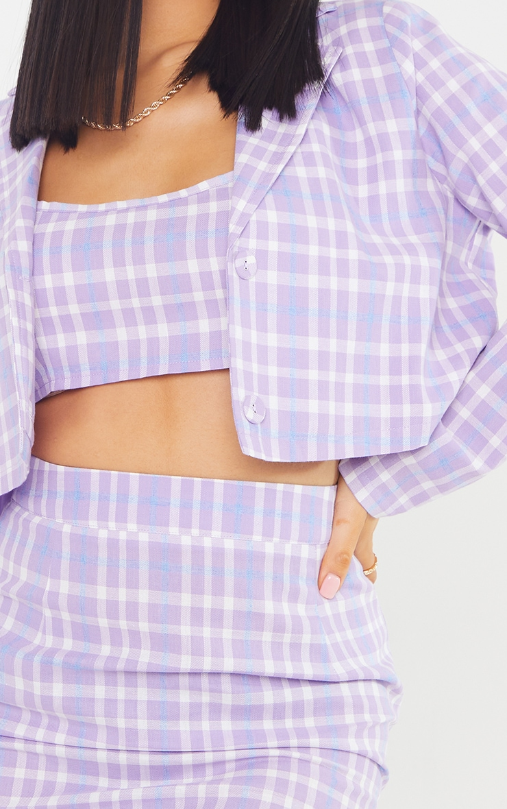 Petite Lilac Cropped Checked Blazer 4