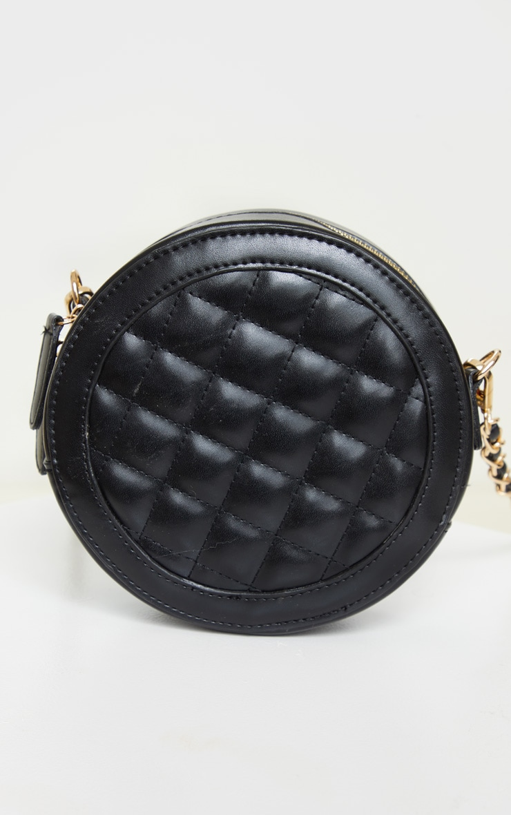 Black Quilted PU Circle Cross Body Bag 2