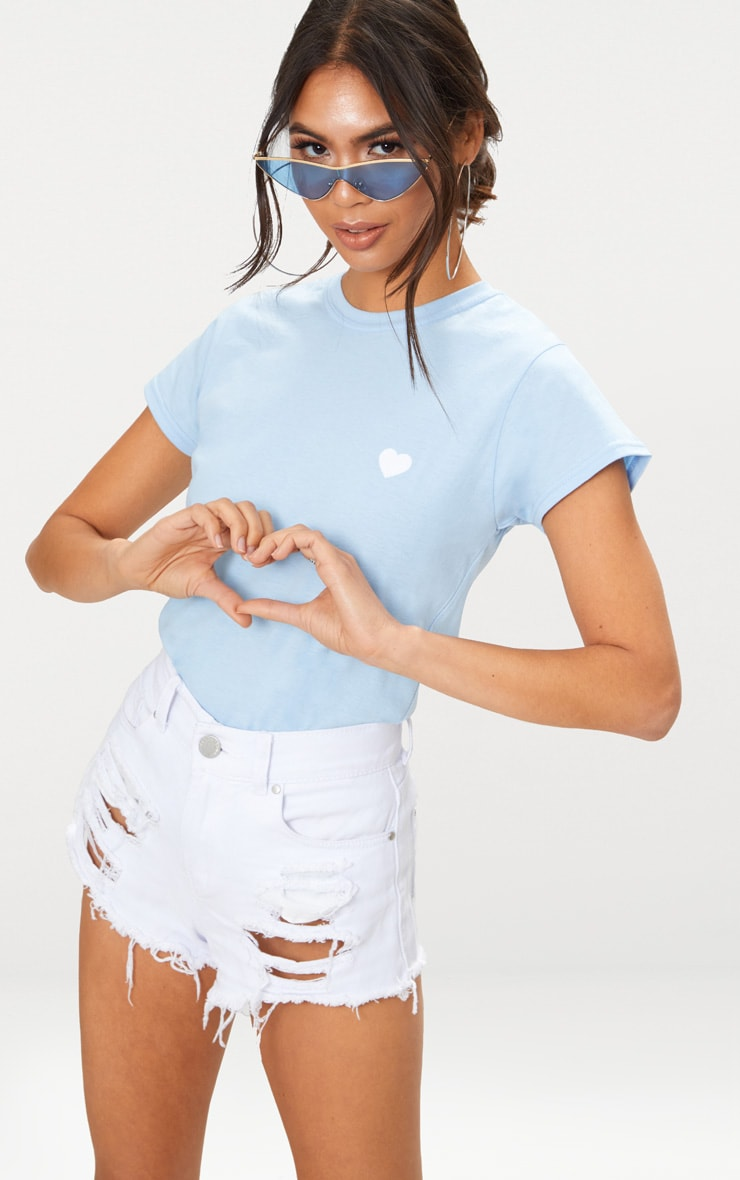 Baby Blue Love Heart Jersey T Shirt 1