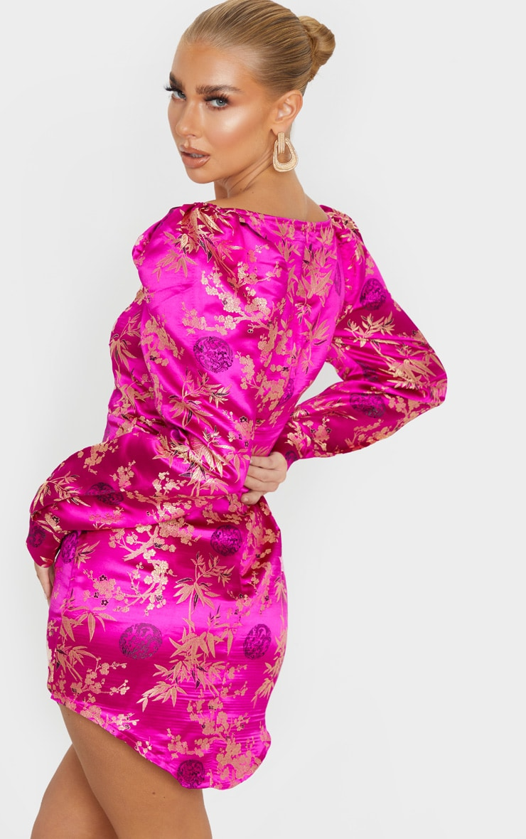 Magenta Jacquard Floral Lace Up Long Sleeve Bodycon Dress 3
