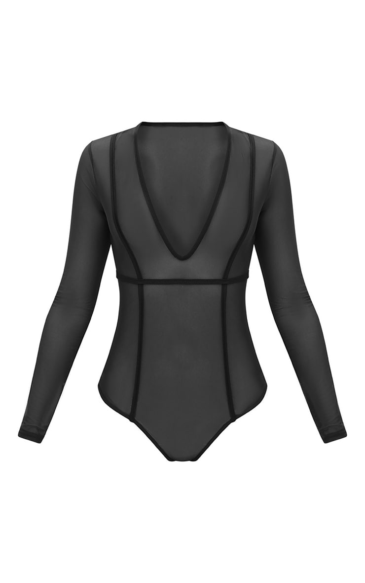 Black Seam Detail Mesh Plunge Thong Bodysuit 3