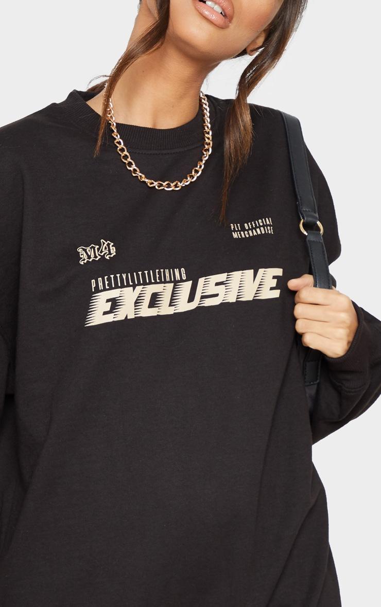 PRETTYLITTLETHING Black Exclusive Slogan Sweater Dress 5