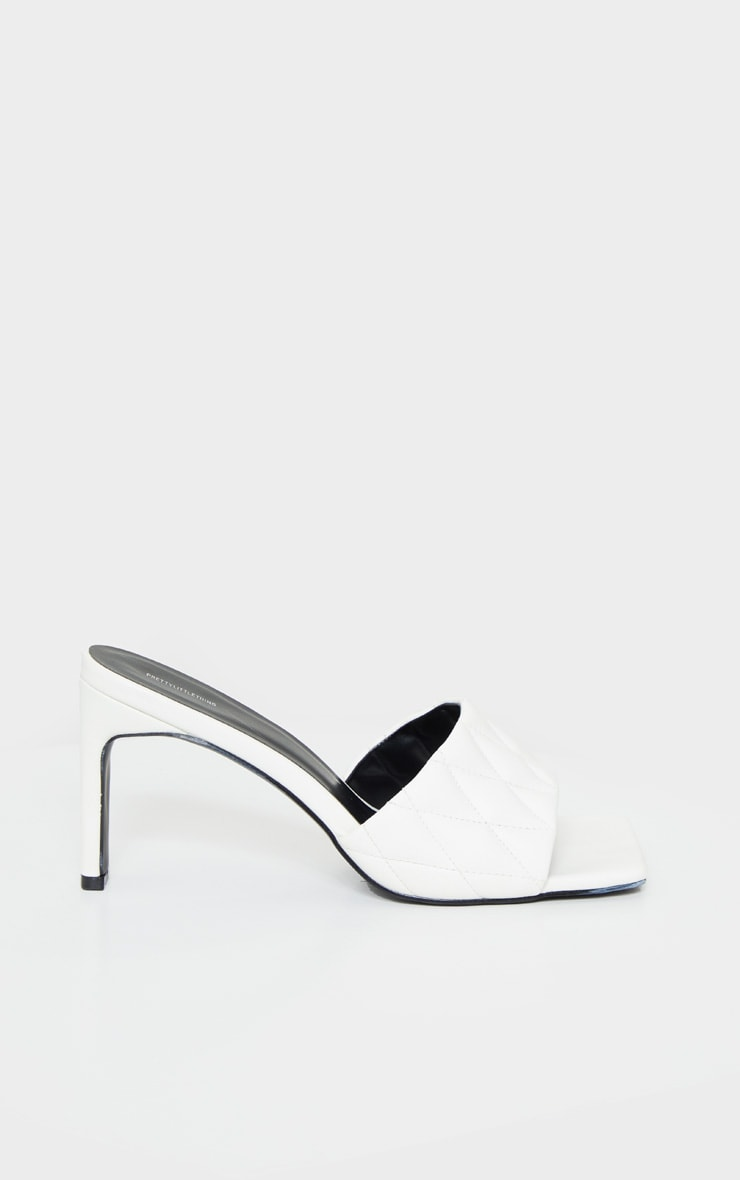 White Extreme Square Toe Quilted Strap Mule Heel 4