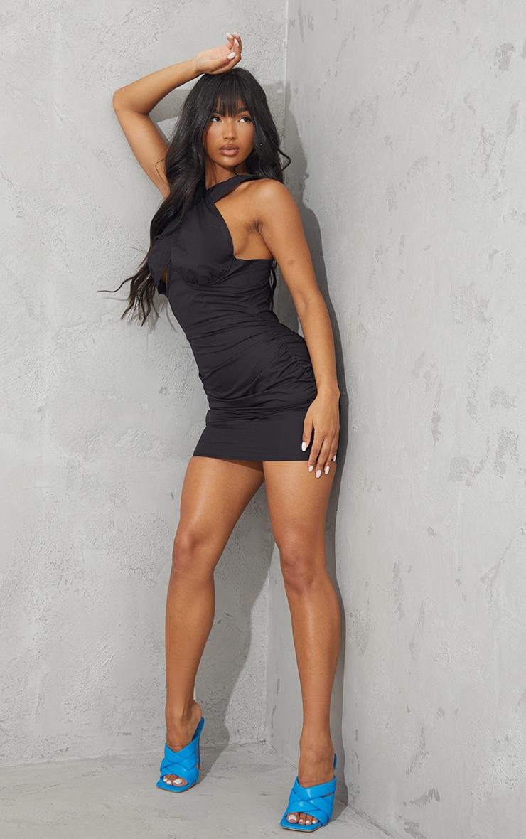 Black Underbust Halterneck Ruched Bodycon Dress 3
