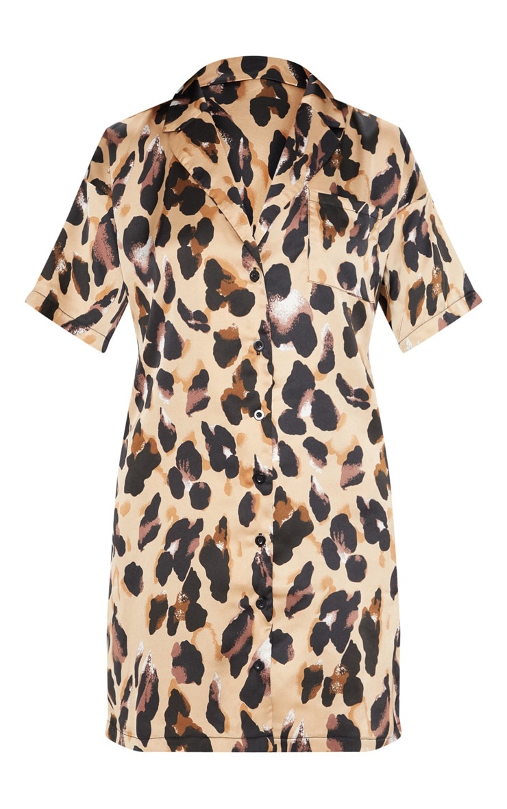 Leopard Print Short Sleeve Shirt Dress 3