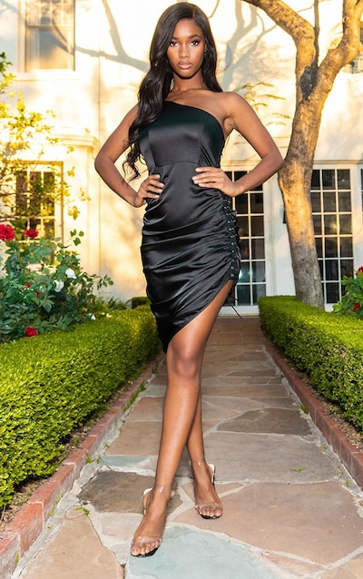 Black Satin Lace Up Side One Shoulder Midi Dress