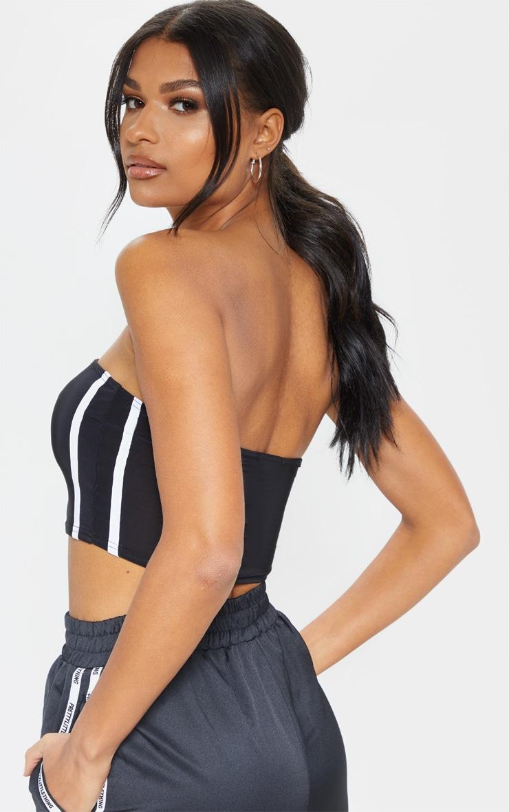 Black Slinky Sporty Contrast Stripe Bandeau Crop Top 2