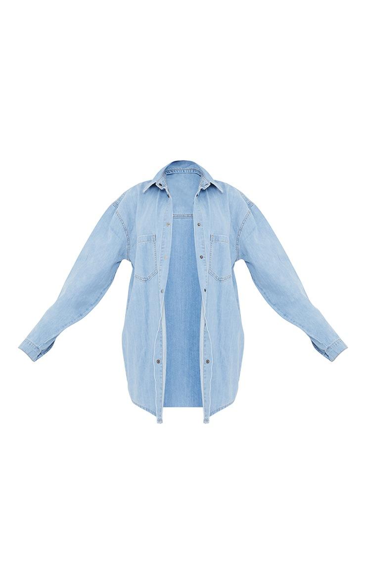 PRETTYLITTLETHING Light Blue Wash Printed Lightweight Denim Shirt 5