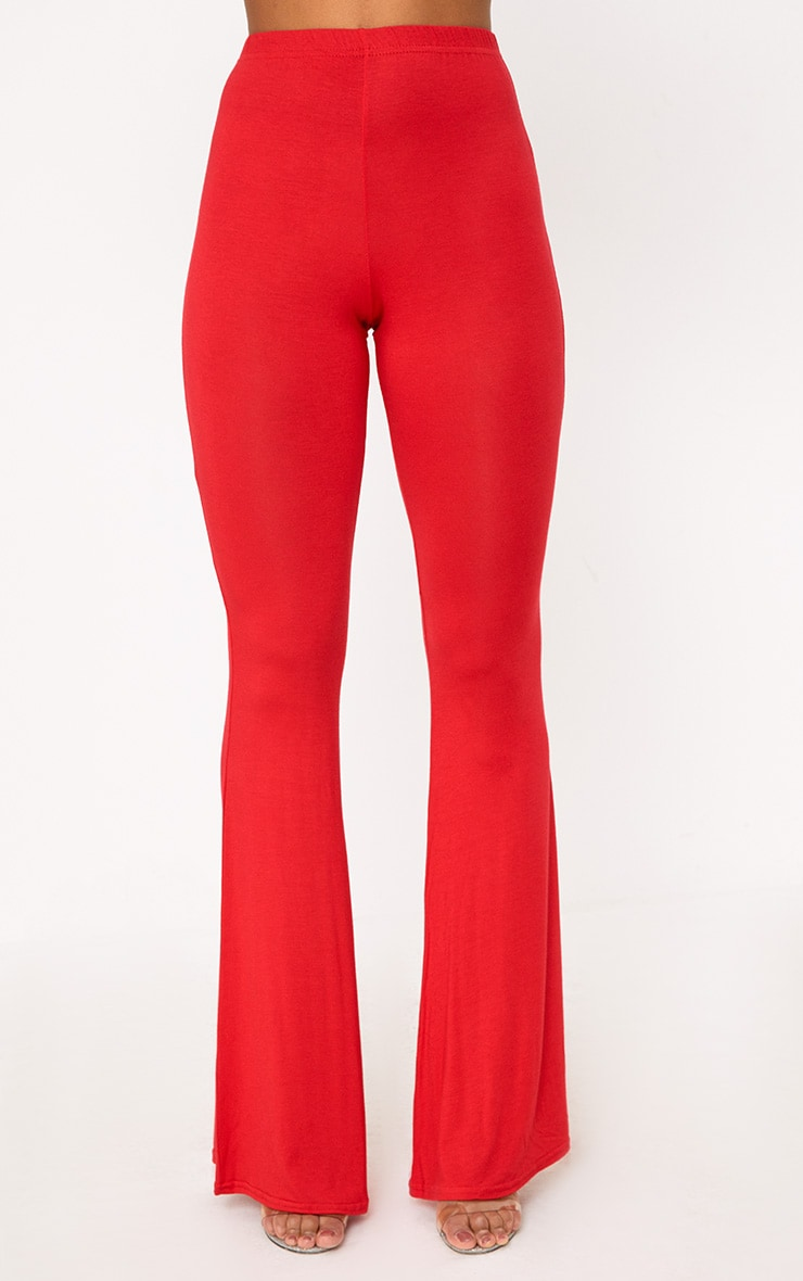 Red Basic Jersey Flared Trousers 2