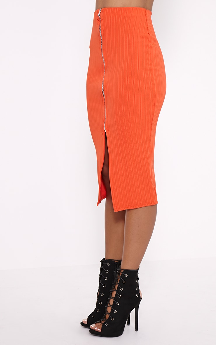 Kaya Orange Ribbed Zip Front Midi Skirt 3