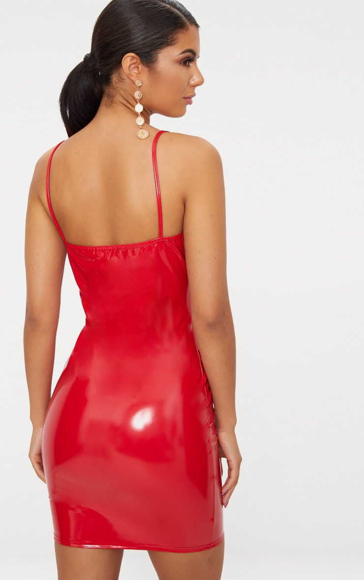 Red Strappy Bust Cup Detail Vinyl Bodycon Dress 3