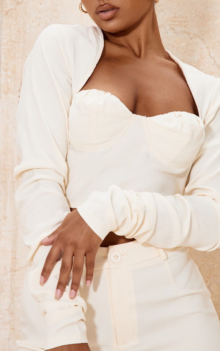 Cream Woven Cup Detail Ruched Sleeve Crop Top 4