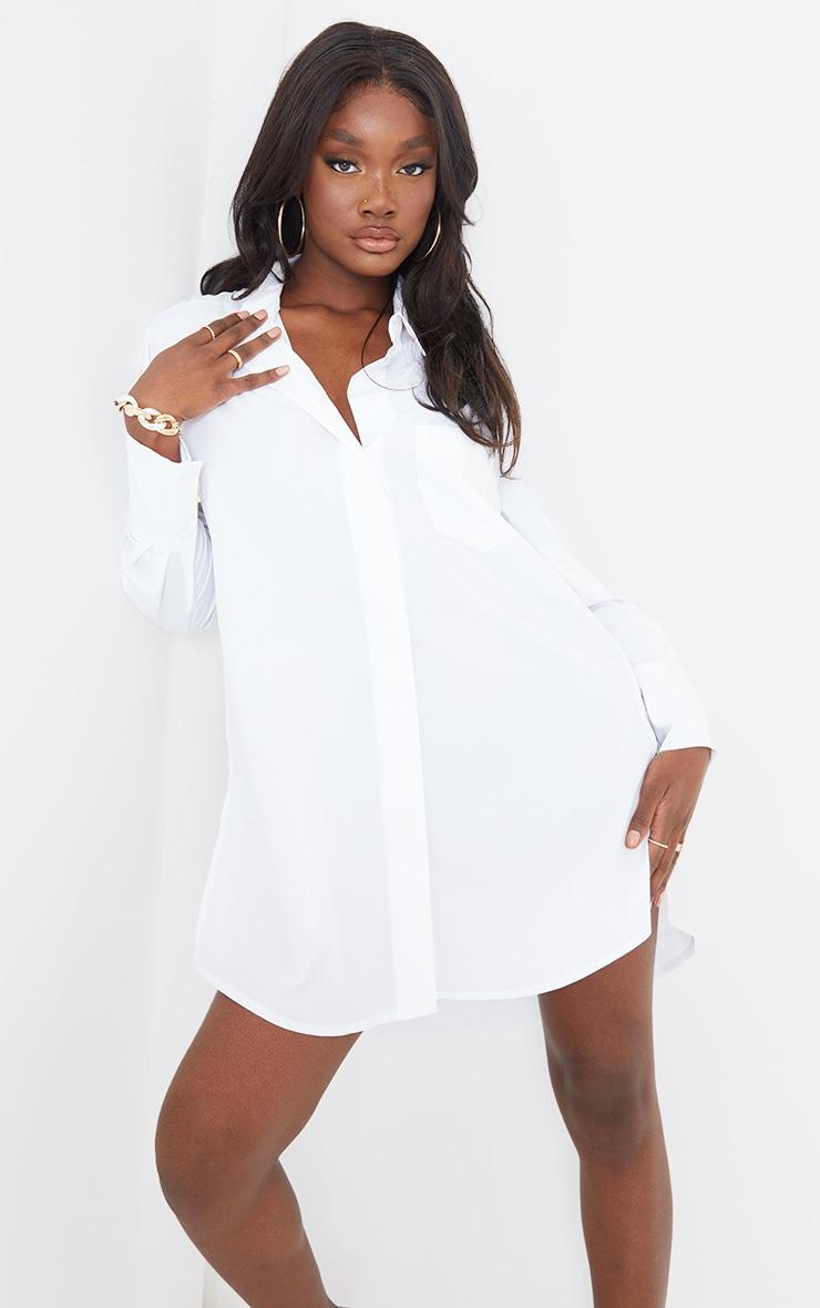 Tall White Poplin Split Side Detail Shirt Dress 1