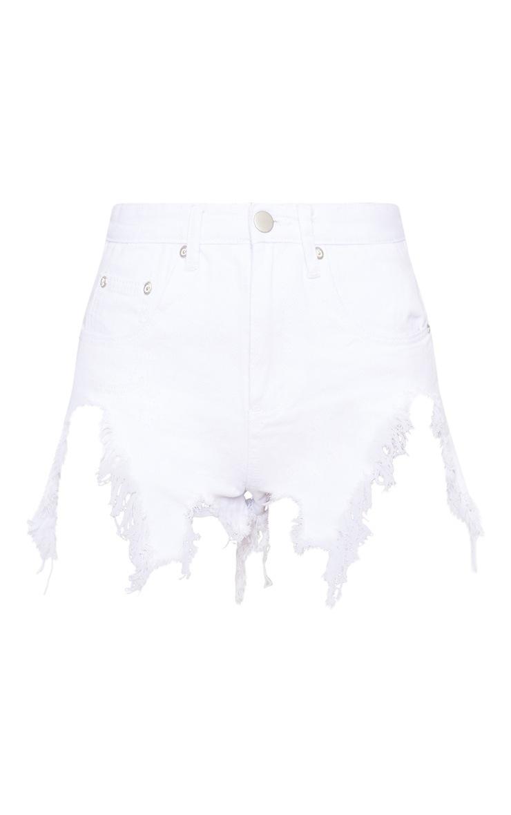 White Extreme Thigh Rip Denim Short 3