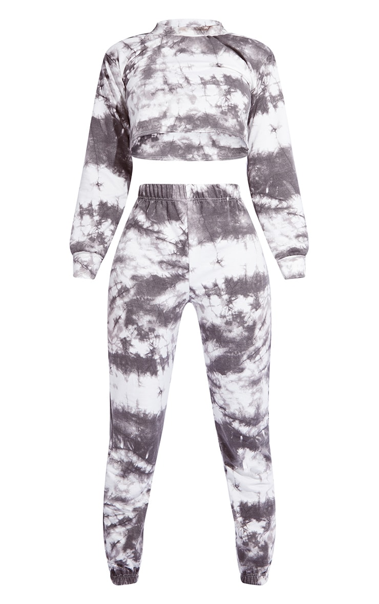 Tall Black Tie Dye Cropped Sweat and Jogger Set 5
