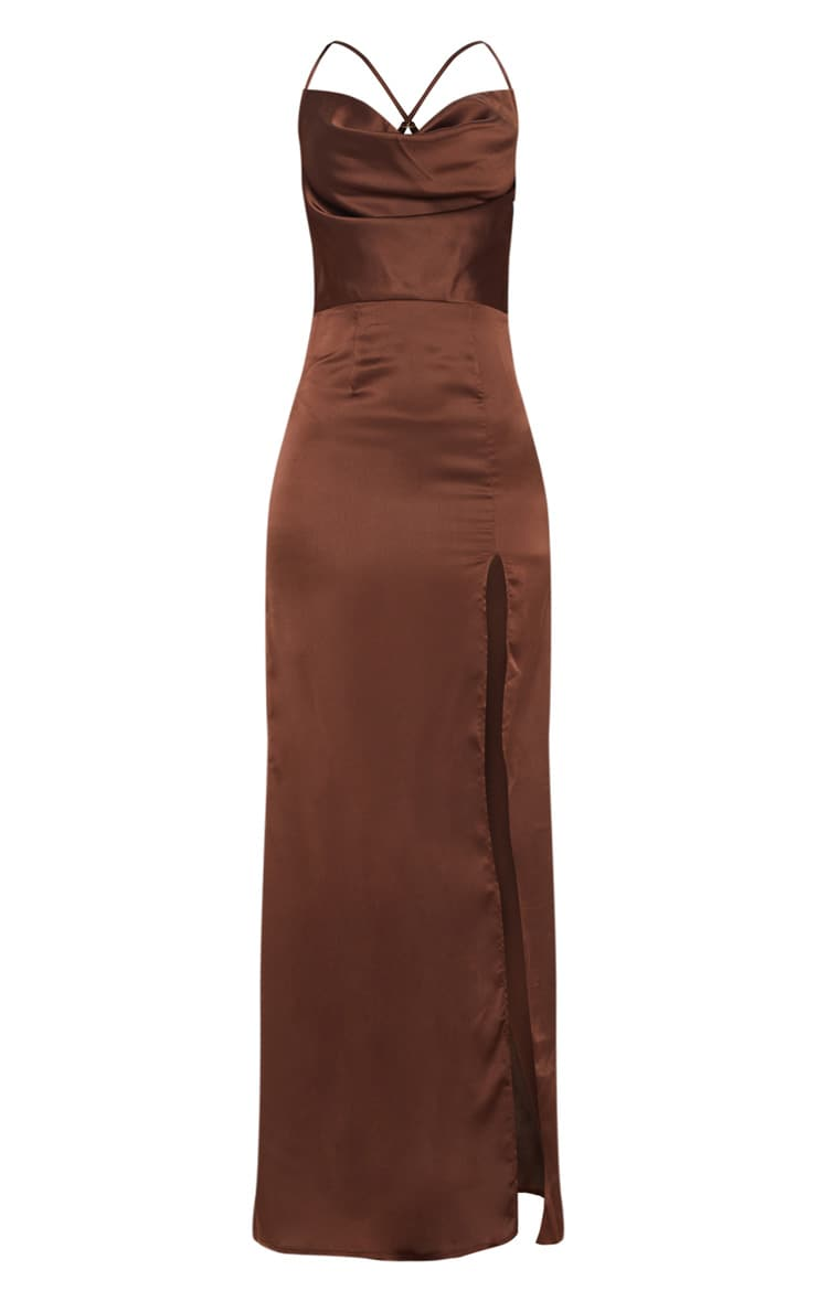 Chocolate Brown Cowl Neck Split Detail Maxi Dress 3