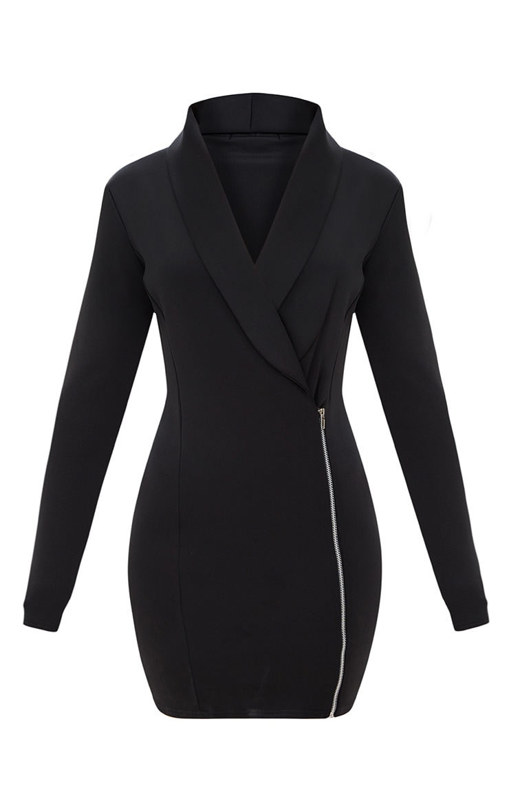 Black Zip Detail Blazer Dress 3