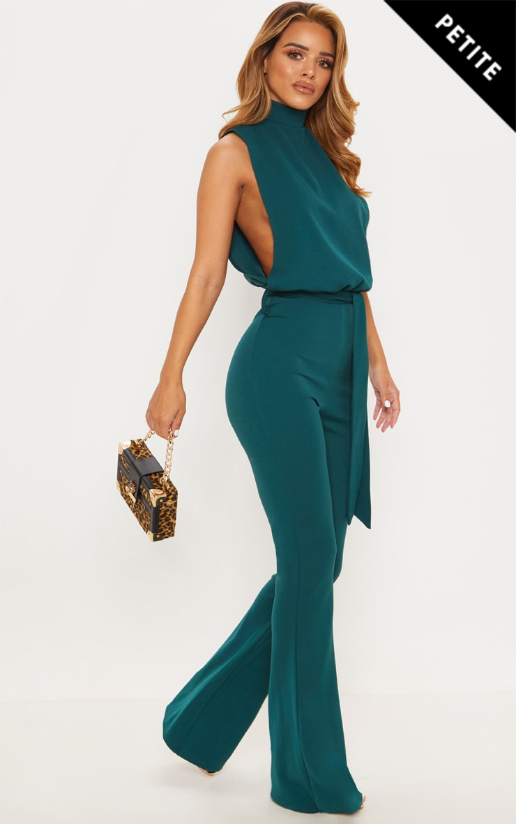 Petite Emerald Green Scuba High Neck Tie Waist Jumpsuit by Prettylittlething