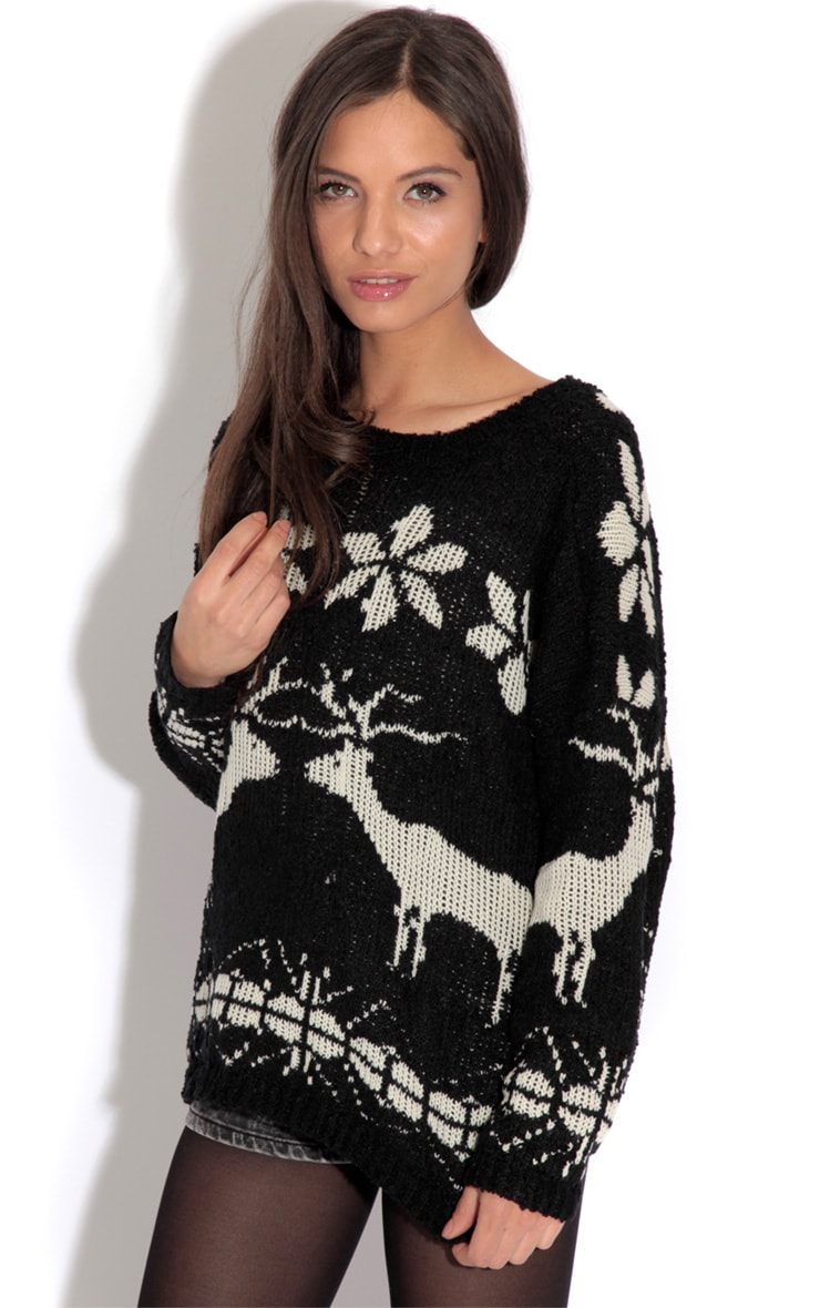 Black Reindeer Jumper-One Size 1