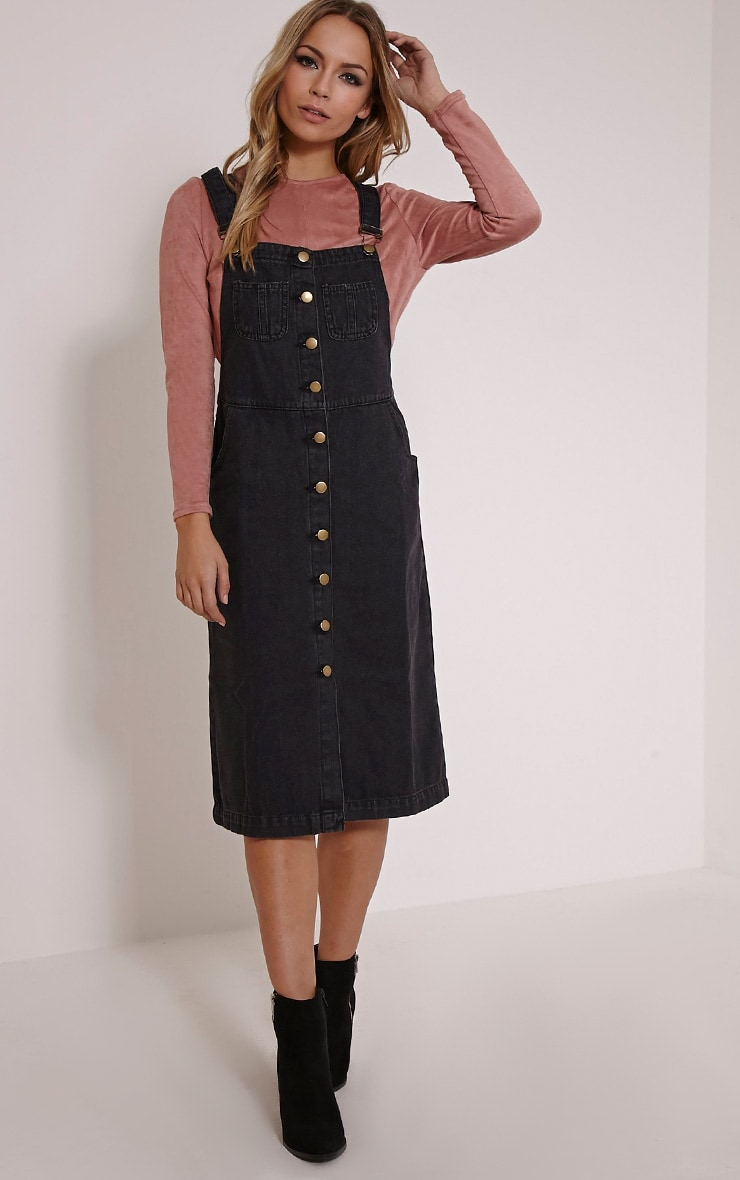 Dolly Black Denim Button Front Pinafore Dress 4