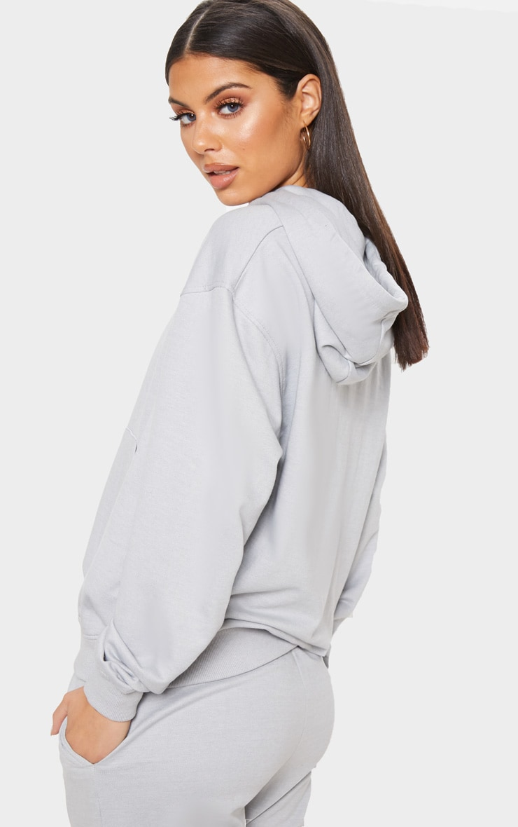 PRETTYLITTLETHING Dove Grey Embroidered Oversized Hoodie 2
