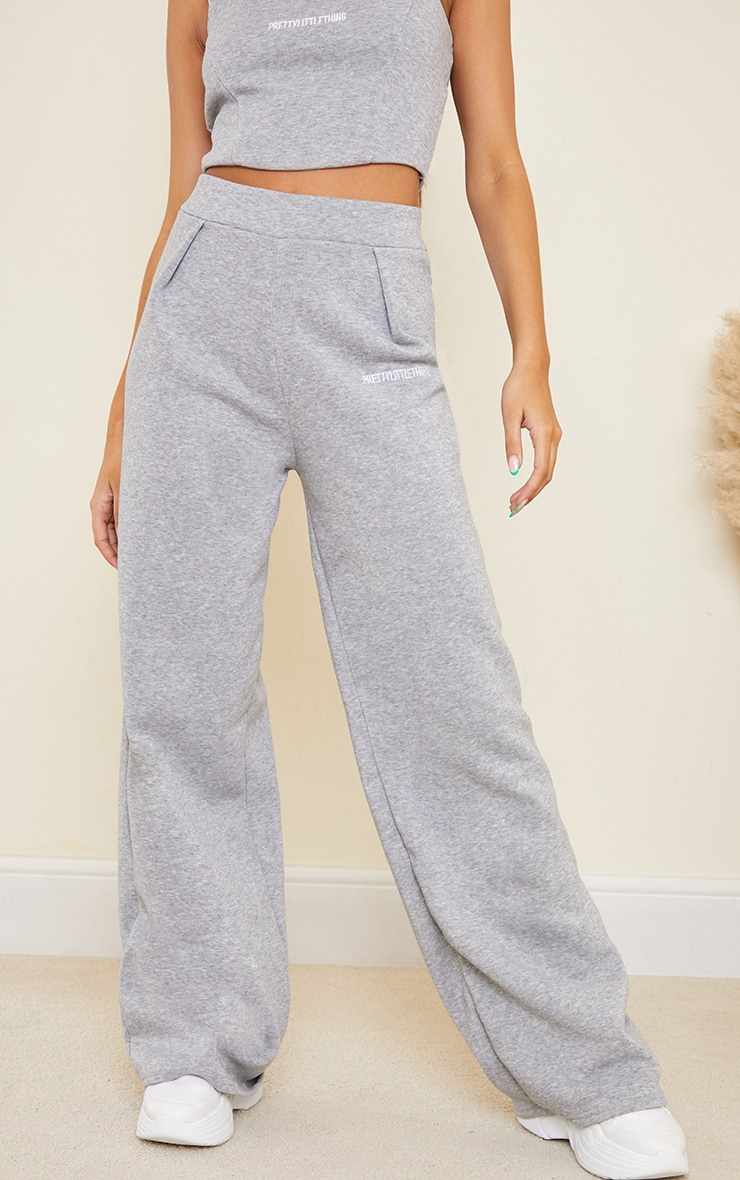 PRETTYLITTLETHING Grey Embroidered Wide Leg Joggers 2