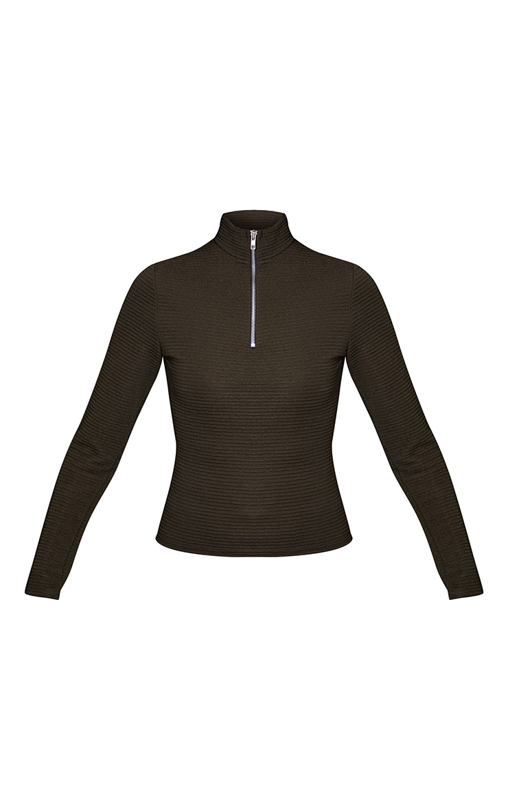 Khaki Textured Rib Long Sleeve High Neck Top 5