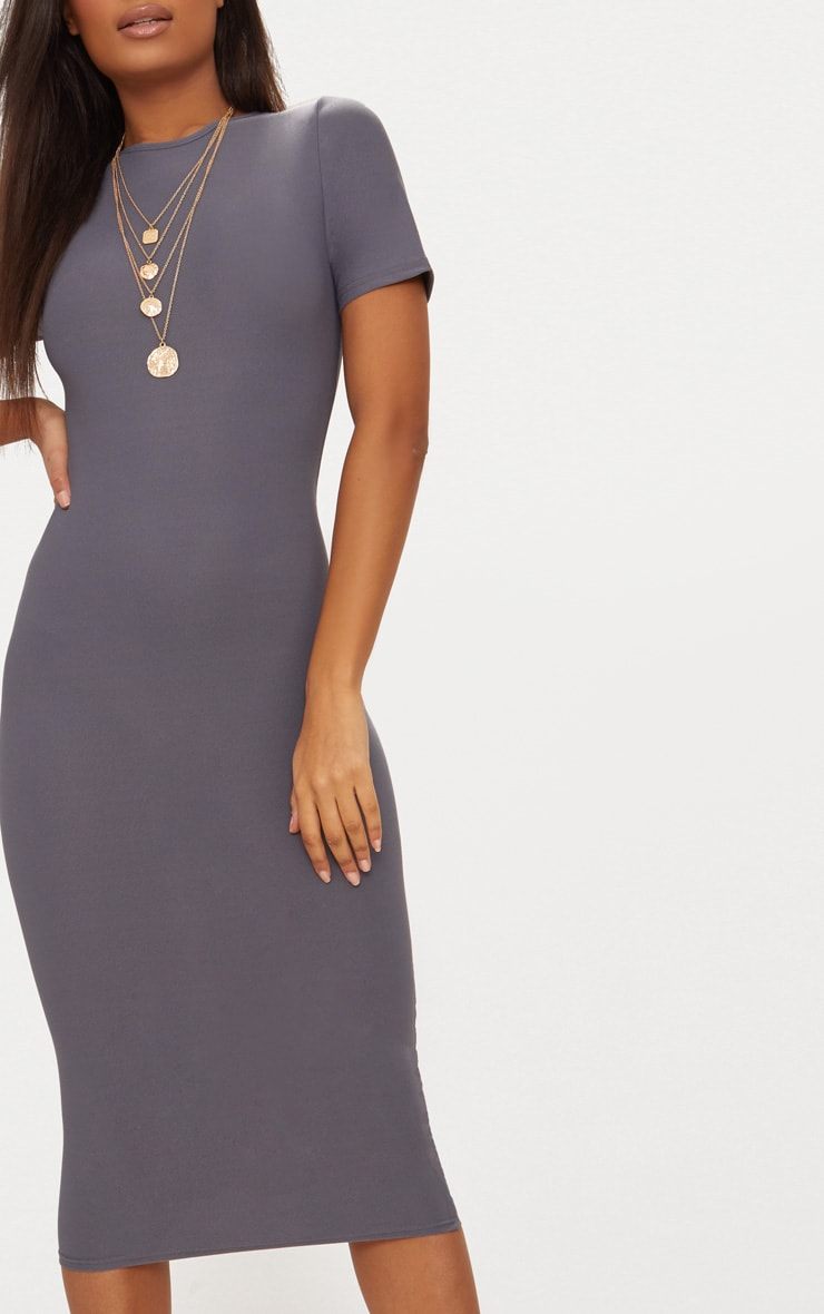 Charcoal Grey Cap Sleeve Midi Dress  5