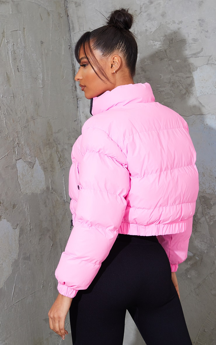 Pink Reflective Cropped Bubble Zip Detail Puffer Jacket 2