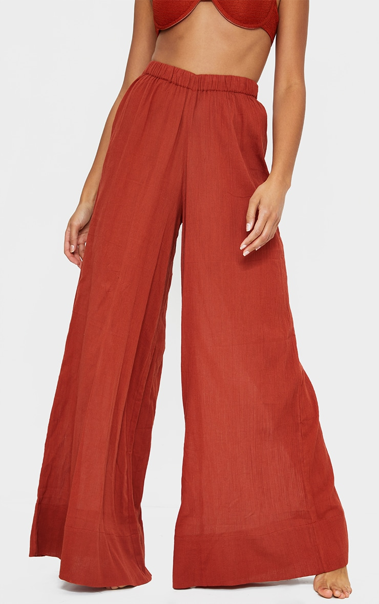 Brown Cotton Textured Wide Leg Beach Pants 2