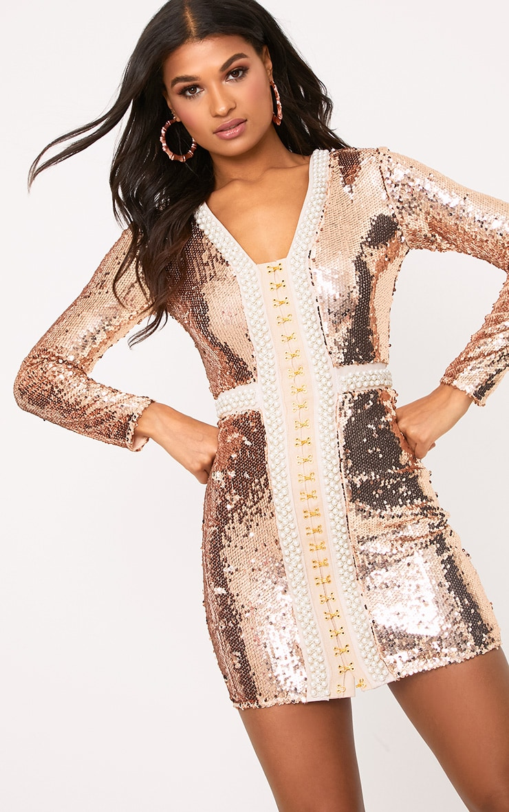 aa2d451b Valencia Rose Gold Premium Embellished Sequin Bodycon Dress image 6