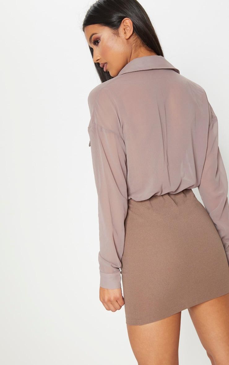Mocha Sheer Top Utility Bodycon Dress 2