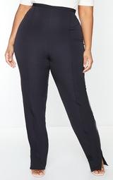 Plus Black Pocket Back Split Hem Woven Pants 2