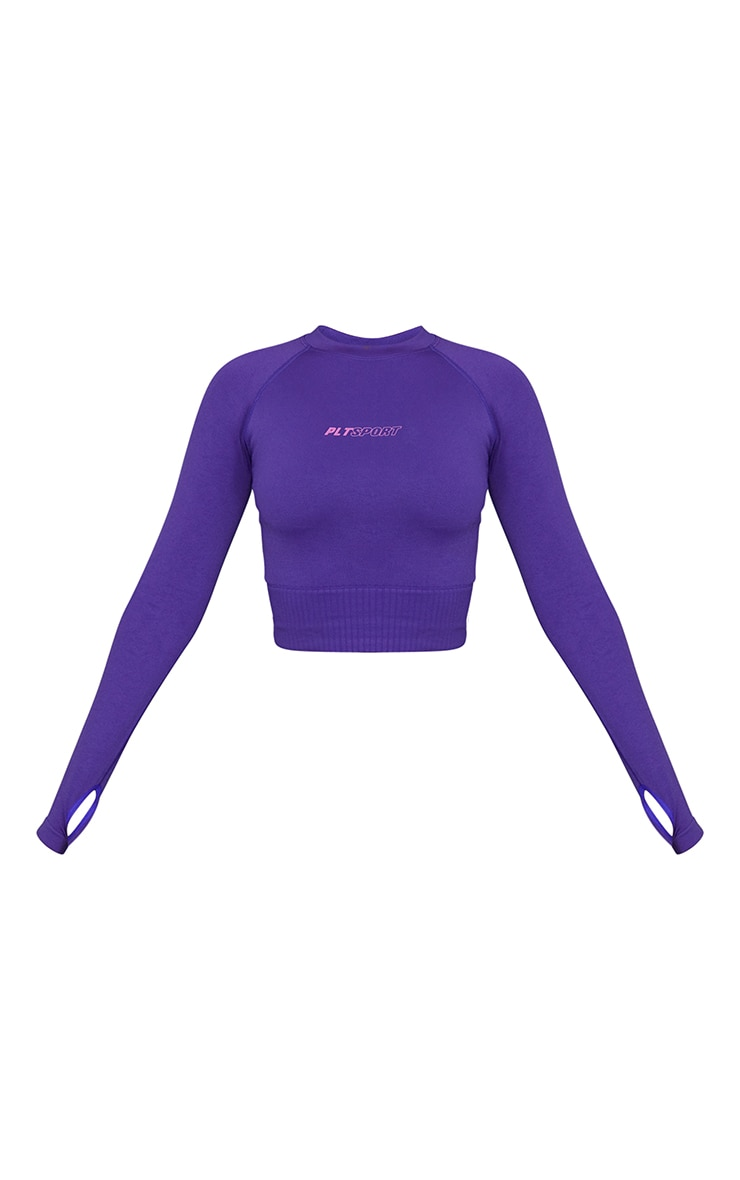 Purple Long Sleeve Seamless Sports Top 5