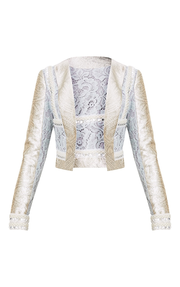 Kemmi Pale Blue Jacquard Lace Cropped Jacket 4