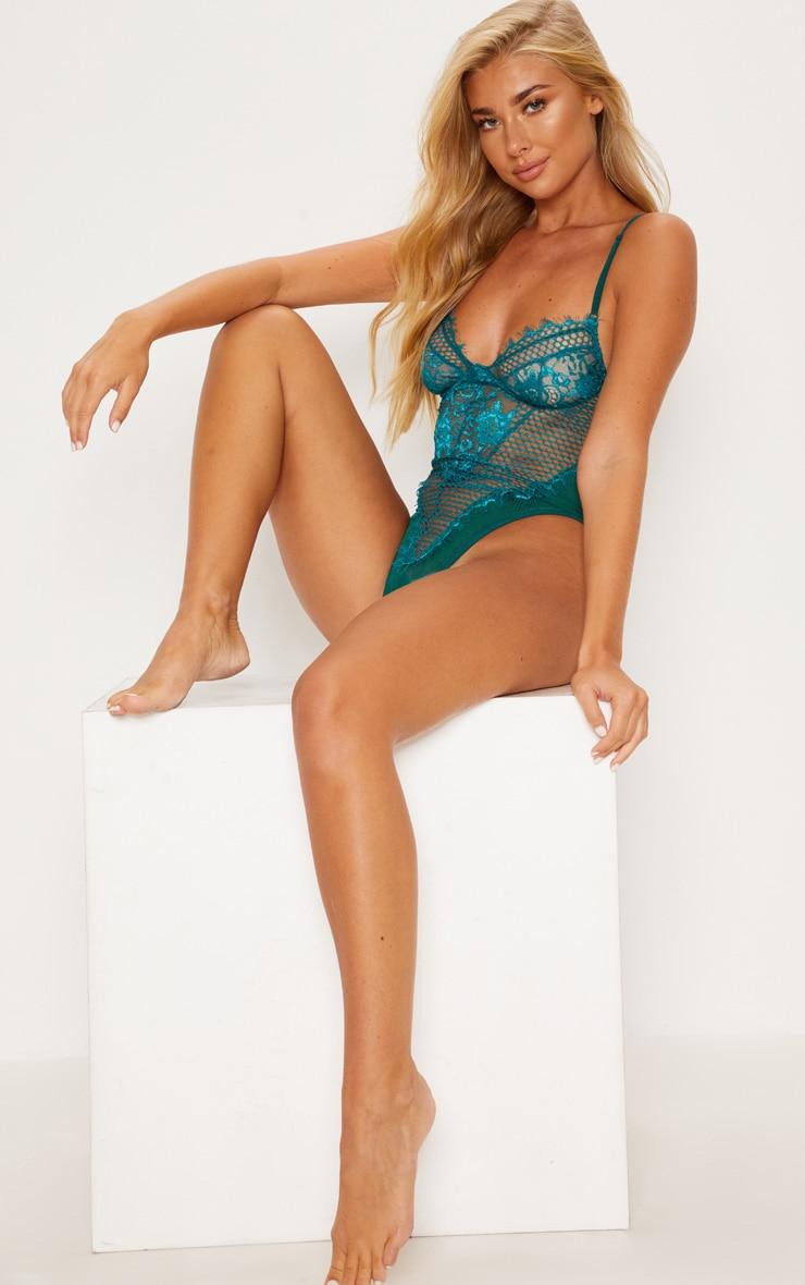 Emerald Eyelash Lace & Fishnet Body 5