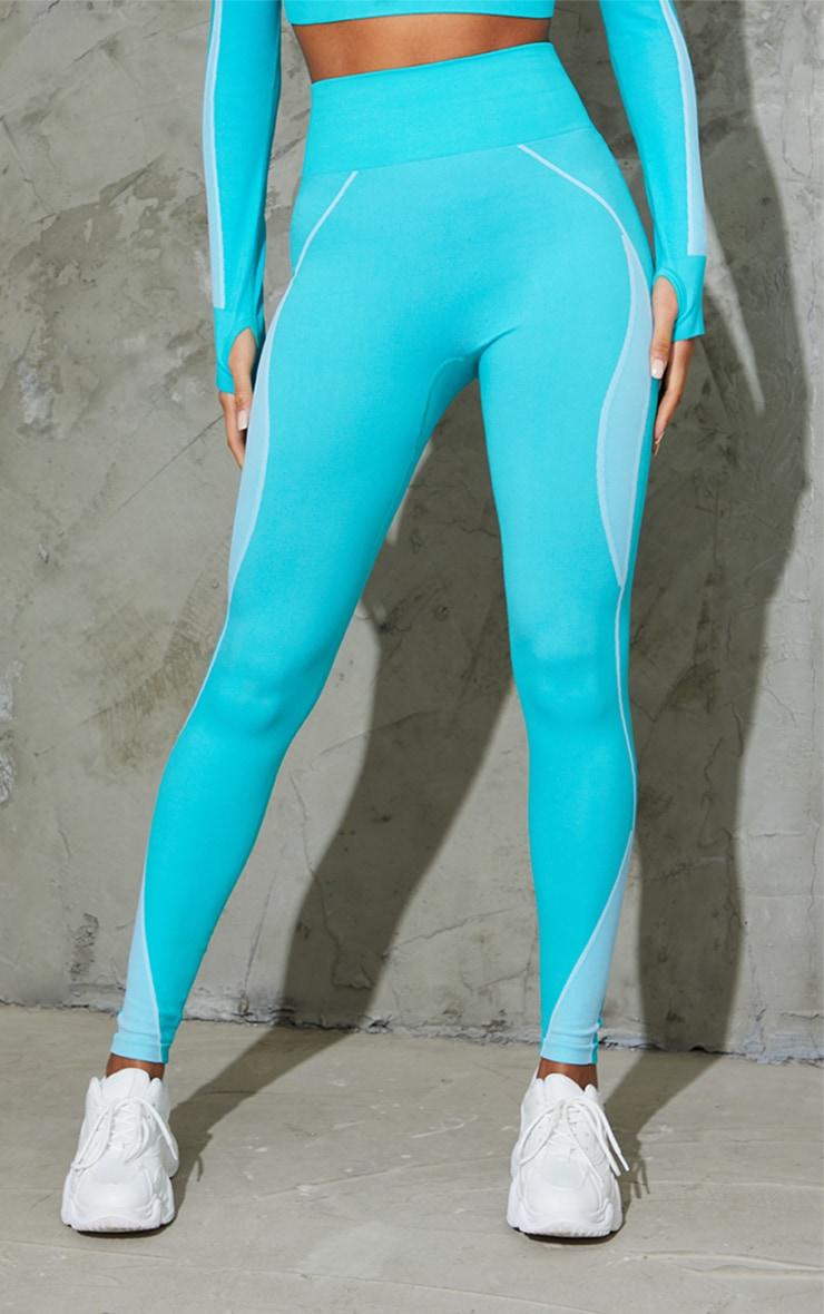 Blue Seamless Contrast Marl High Waist Gym Leggings 2