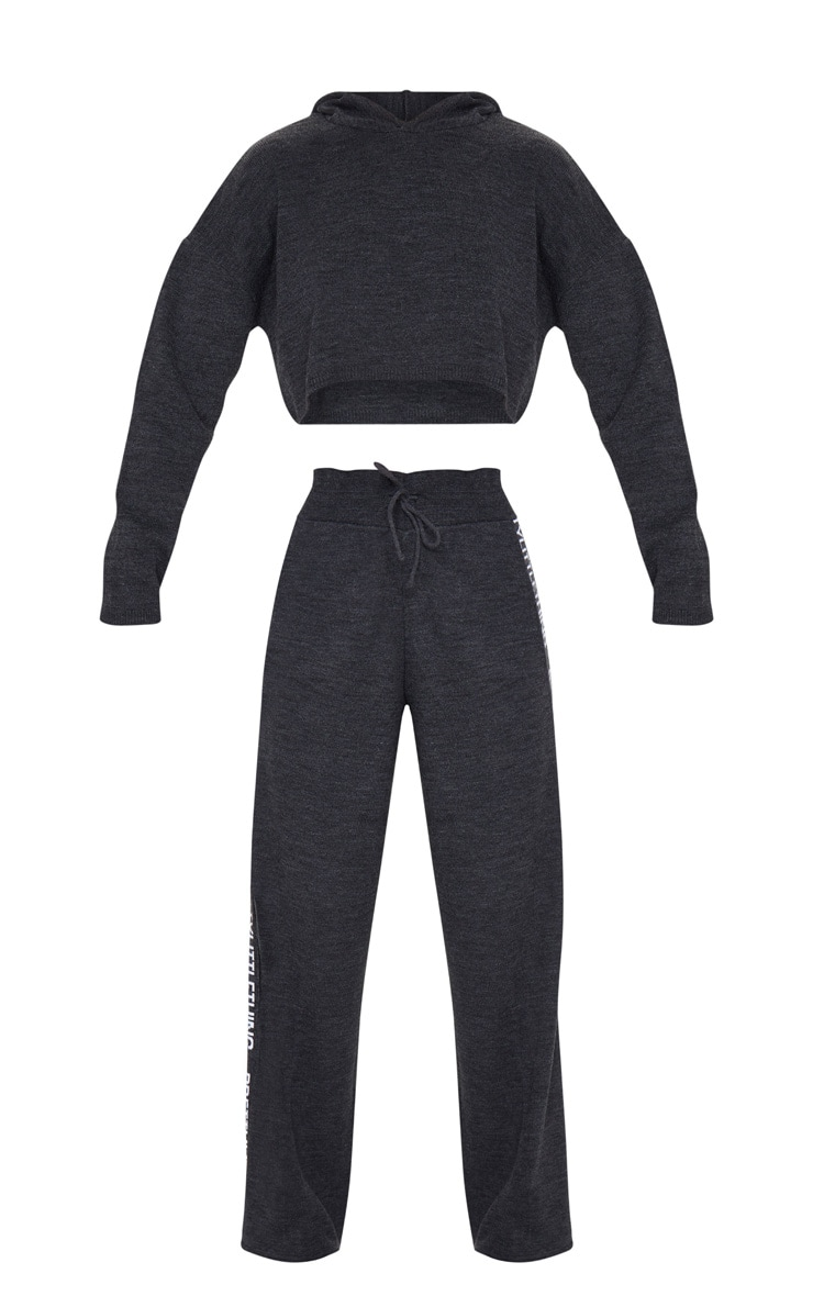 PRETTYLITTLETHING Charcoal Knitted Wide Leg Lounge Set 5