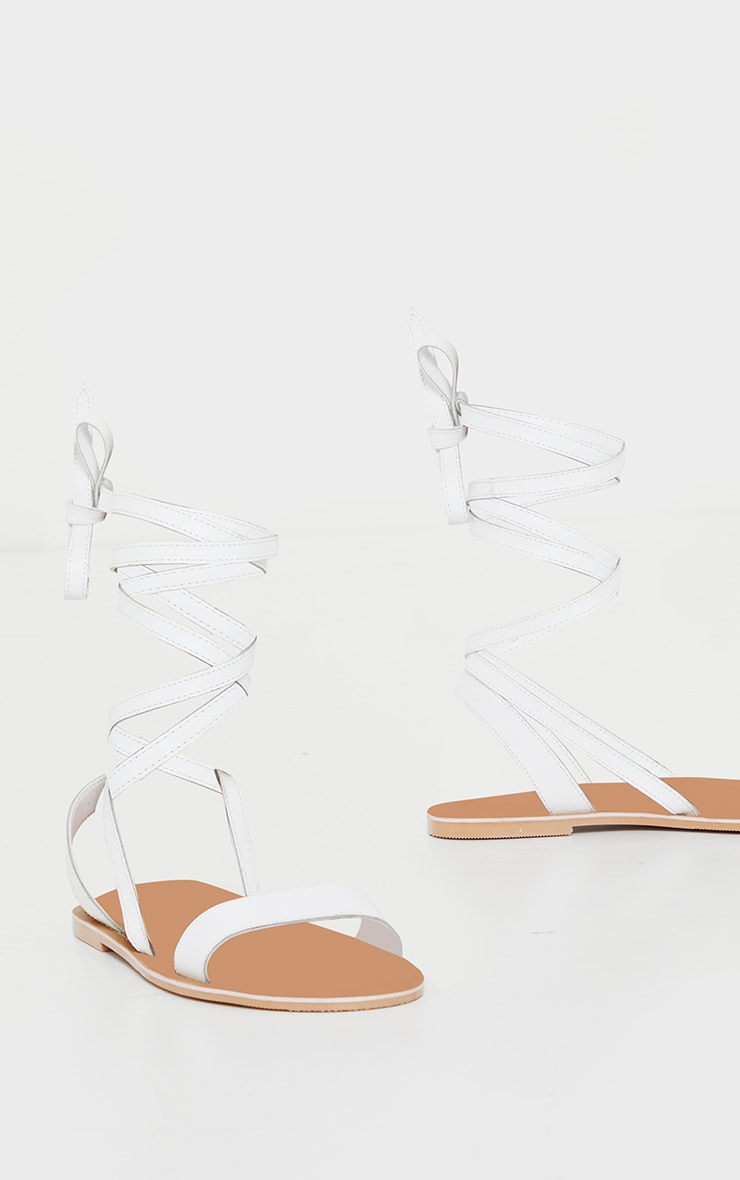 White Wide Fit Leather Strappy Basic Sandals 3
