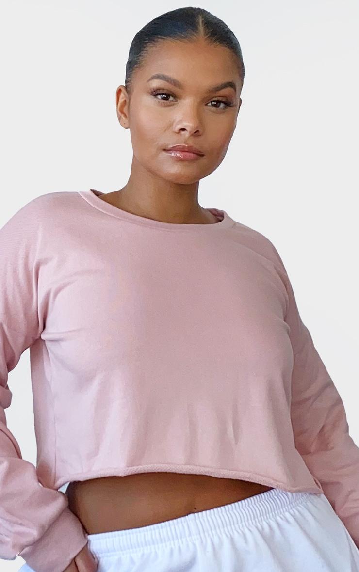 Plus Beau Pink Cut Off Crop Long Sleeve Sweater 4
