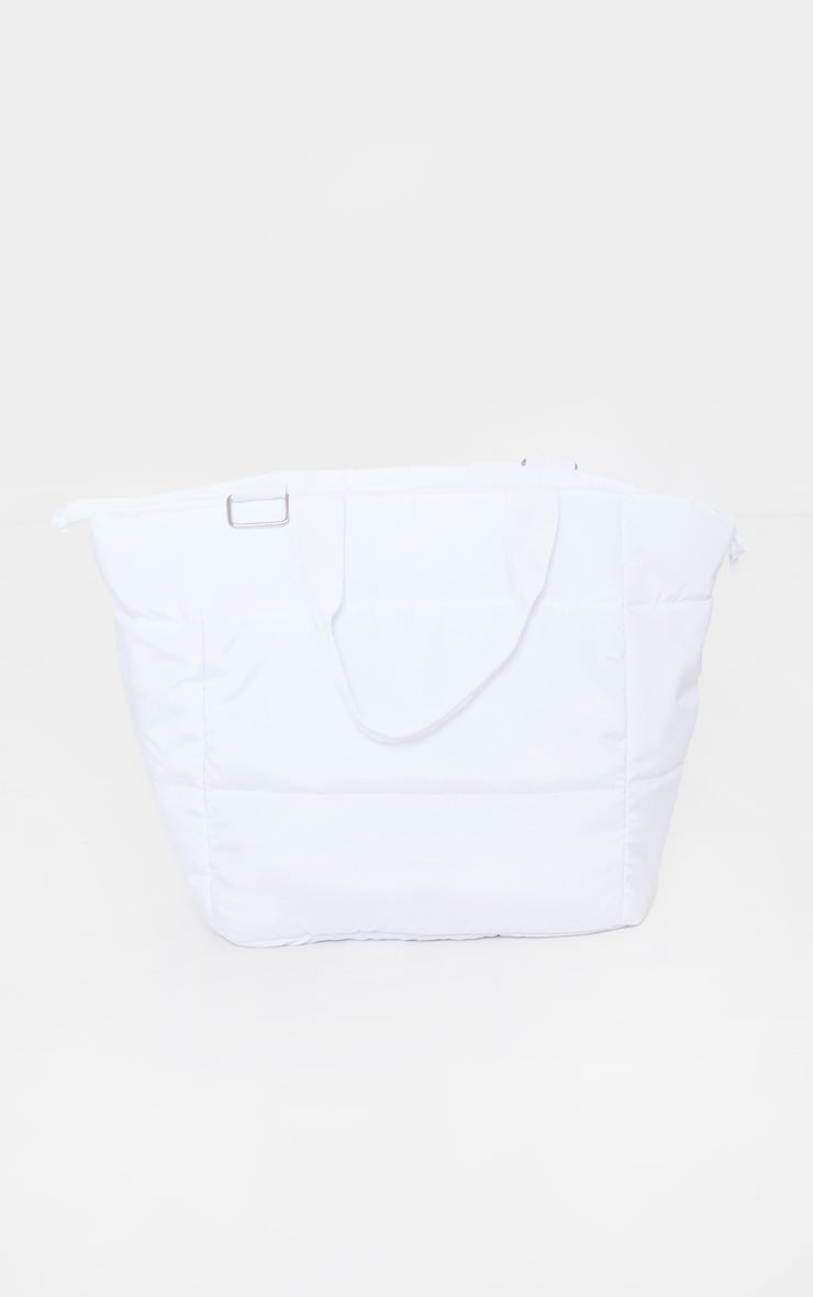 White Oversized Quilted Tote Bag 2