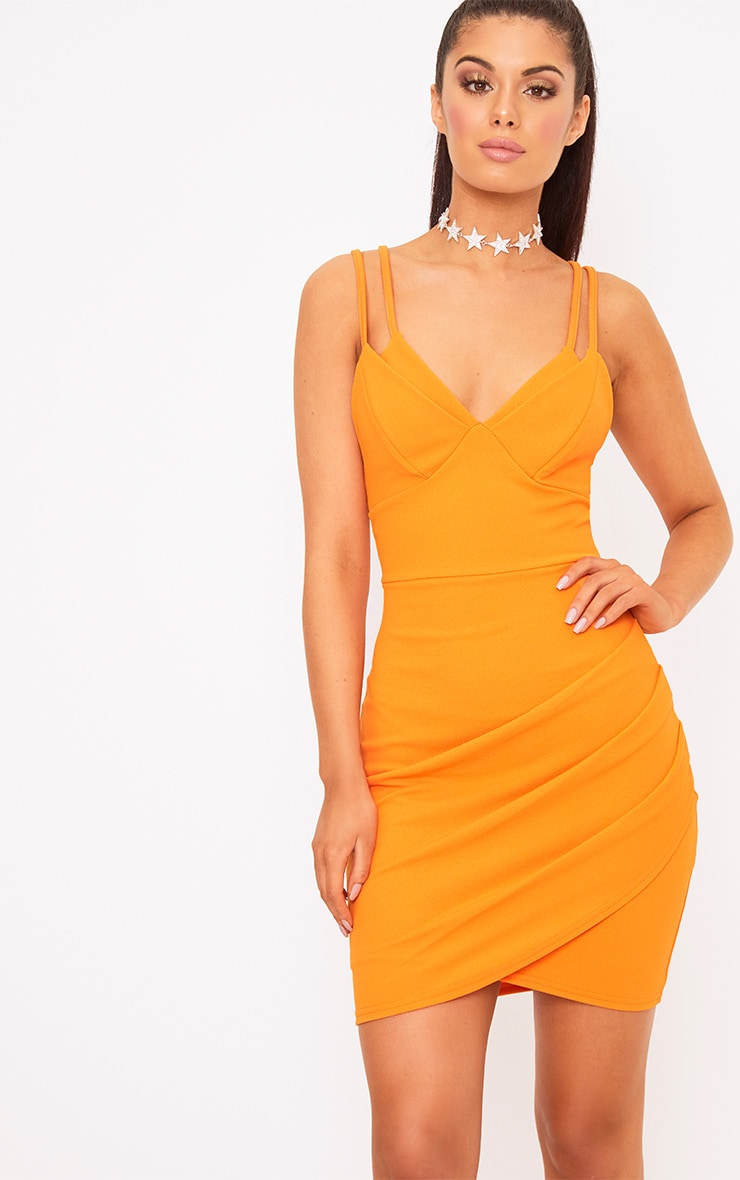 Bright Orange Double Strap Bodycon Dress 1