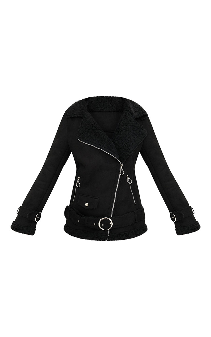 Black Ring Pull Faux Suede Aviator Coat 3