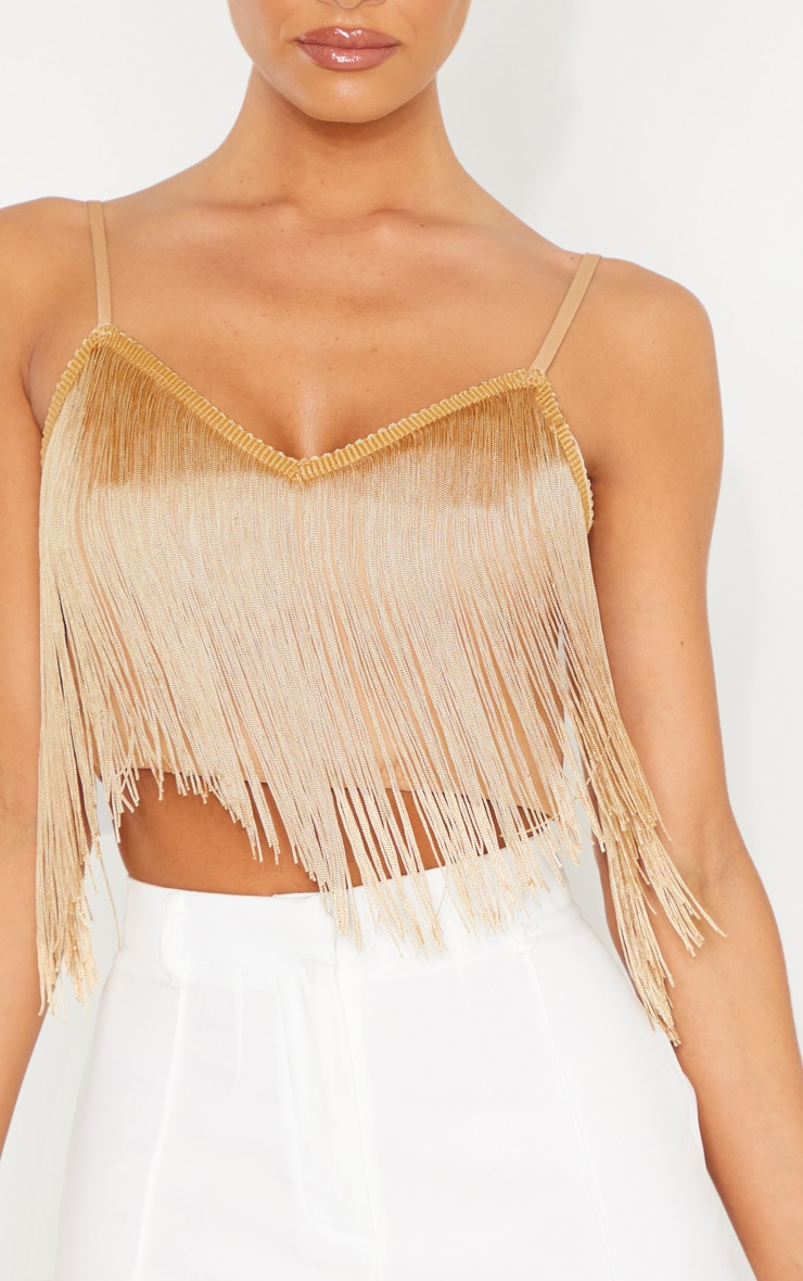 Gold Tassel Trim Sleeveless Crop Top 5