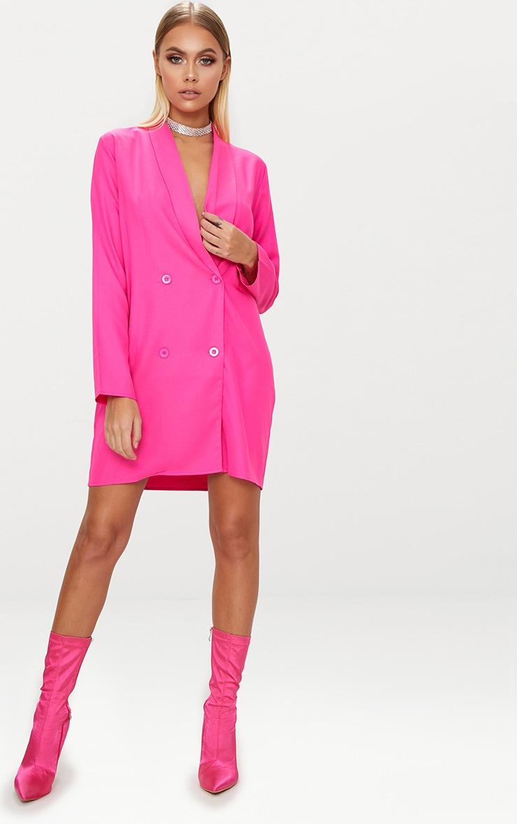 Fuchsia Oversized Blazer Shift Dress 4