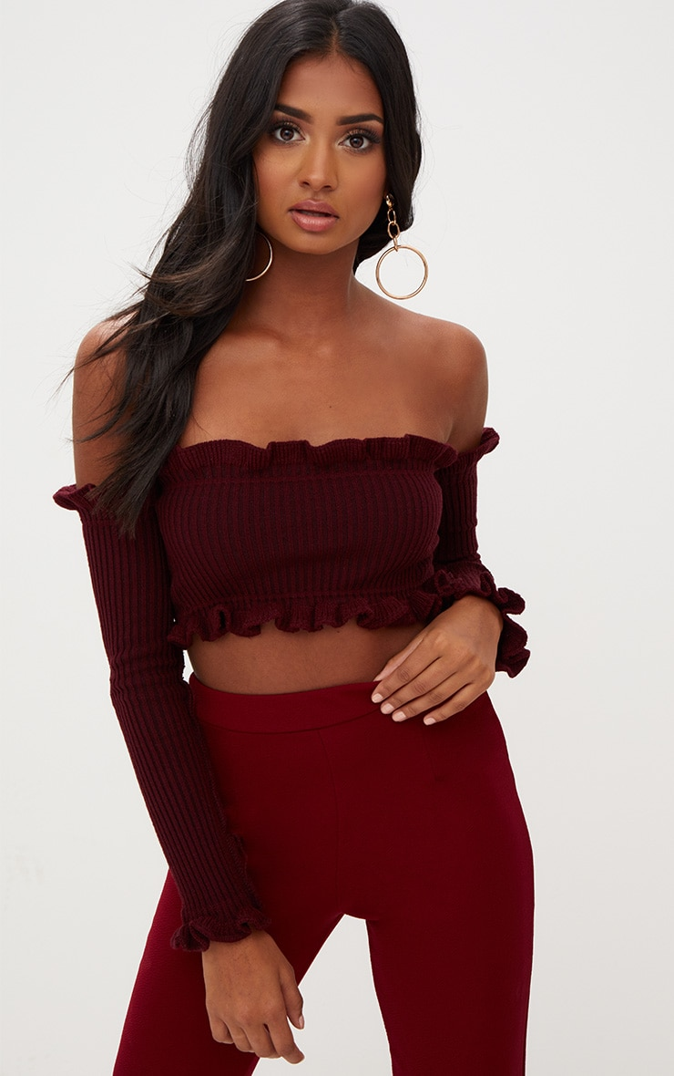 Burgundy Ruffle Detail Knit Bardot Long Sleeve Top 1