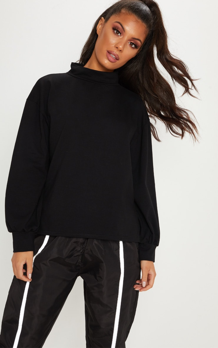 Black Oversized Roll Neck Neon Top