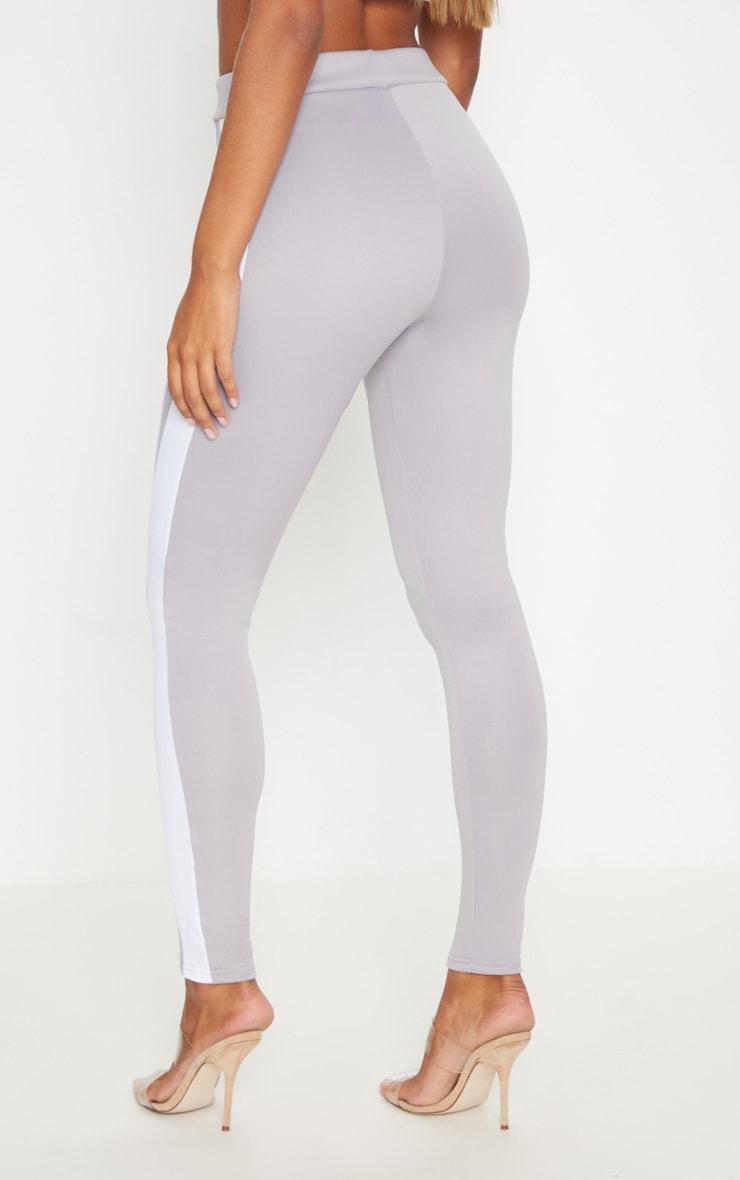 Grey Scuba Contrast Side Stripe Skinny Trouser 4