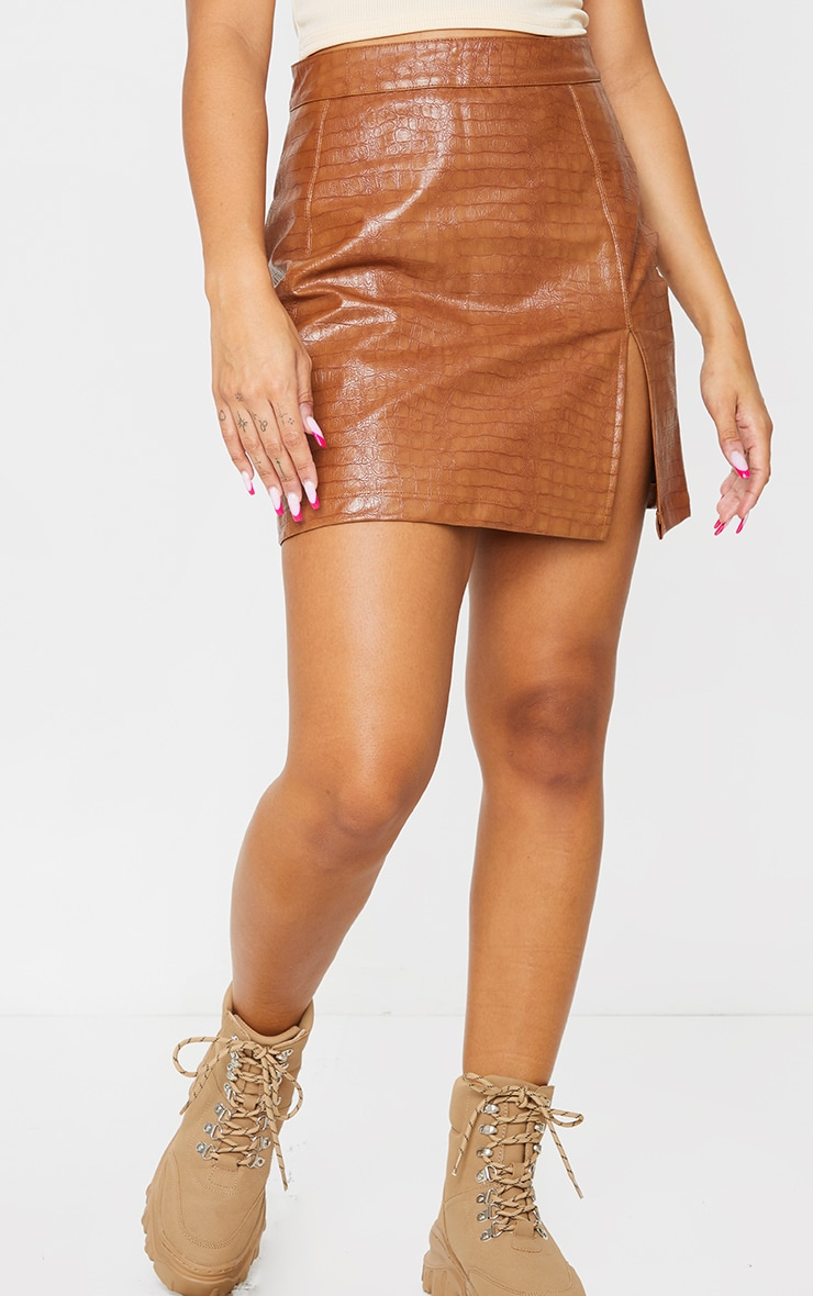 Tan Croc Vinyl Seam Detail Mini Skirt 2